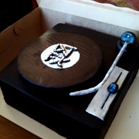 Turntable Cake   this was a last minute cake for my husbands boss who is also a dj...record spins