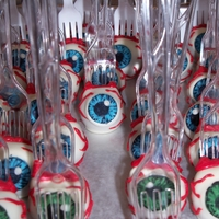 Eyeball Cake Pops the black part is drawn with americolor markers