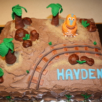 Dinosaur Train Birthday Cake Hayden's 4th Birthday cake!My sis and I made this cake for a friends son. A big fan of the Dinosaur Train.Choc sponge cake with Choc...
