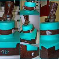 Cowgirl Bling Birthday Cake Buttercream cake with modeling chocolate panels and boot