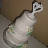 Calla Lilies Wedding Cake   100% from scratch, 2nd time making Calla Lilies, air brushed cake in pearl dust for shine