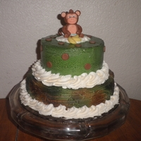 Camo Monkey Baby Shower Cake   hand molded monkey and banana's, air brushed butter cream cake.