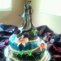 Corpse Bride  Made this as a wedding present for my step sister. This was my first time making these gumpaste flowers and butterflies....sorry about the...