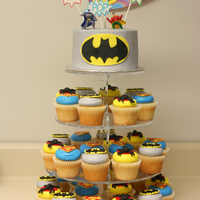 Batman Superhero Cake And Cupcakes This was a great trade I did with a fellow photographer. She came a month earlier and photographed my daughter's 3rd Bday party and I...