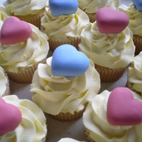 Love Heart Cupcakes. Gluten free butter cake mix with buttercream icing and fondant hearts.
