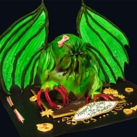 "Cthulhu Cake Combination birthday cake that wanted a ""girl"" Cthulhu with a touch of steampunk. Mix of fondant, buttercream. Airbrushed. The..."