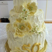 50Th Wedding Anniversary 50th wedding anniversary cake, gumpaste fantasy flowers
