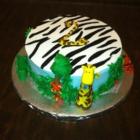 Jungle Cake Jungle cake, buttercream frosting with fondant topper, fondant figures