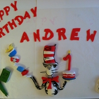 Seuss 1St Bday Decorations Cat in the hat with some of his stuff. Decorations only.