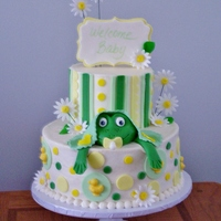 Baby Frog Cake Used a combination of fondant and buttercream