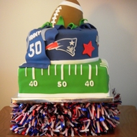 New England Patriots I created this for a friends 50th birthday party. The football is made with gumpaste. Thanks to all the CCer's for the inspirations!
