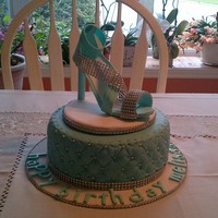 Gumpaste Stiletto On Quilted Fondant Cake Gumpaste Stiletto on Quilted Fondant Cake