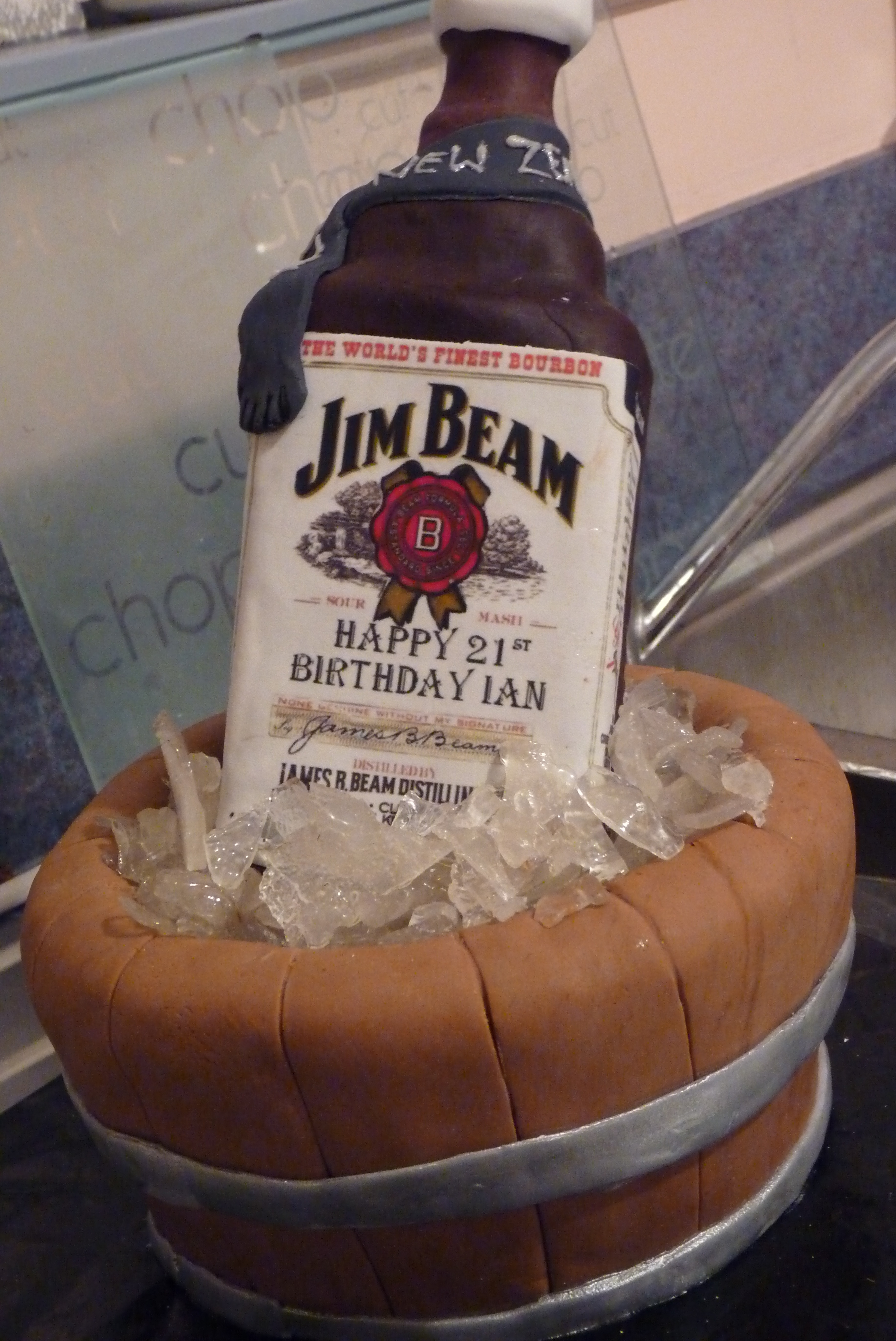 Present Box With Dogs, Choc mud cake, traced around a Jim beam bottle, tried many bottle labels before not ripping one even soaking the label would not come off....