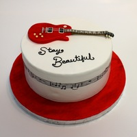"Taylor Swift Red ""stay Beautiful"" Cake ""Stay Beautiful"" cake for a Taylor Swift fan. The music around the side is the chorus of the song."