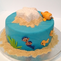 Bubble Guppies Cake For a friend's daughter on her first birthday. The starfish on top is a removable smash cake.