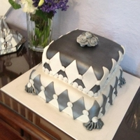 Silver, Black And White   Two square tiers - alternating colors.