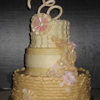 Butter Cream Frosted Wedding Cake Topper And Flowers Done In Fondantgumpaste butter cream frosted wedding cake. Topper and flowers done in fondant/gumpaste