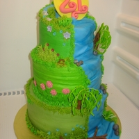 Naturesque Tiered Cake this cake is made in buttercream with mmf accents all made by hand. The customer wanted a cake for her daughter's 21 birthday that was...
