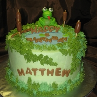Frog/pond Cake Ths cake is frosted in all buttercream and accented with a mmf frog, log, cattails, lily pads and letters. I let the 'happy'...