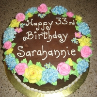Chocolate Bc Birthday Cake this cake has a chocolate fudge bc and is decorated with various flowers in vanilla bc.