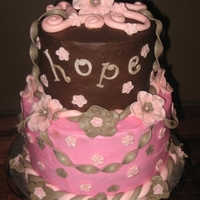 Pink And Brown Cake this cake is made in choc. bc and a strawberry bc with mmf decorations