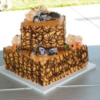 Harley Wedding Cake *Black, orange, Harley Wedding