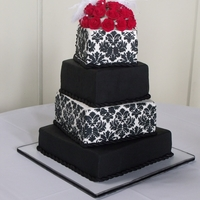 Black And White Black and white wedding cake with stenciling - my first attempt