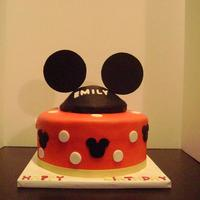 Mickey Mouse I didn't think the dots should be on the cake. But hey the customer gets what they want. Right?This was my first fondant covered cake...