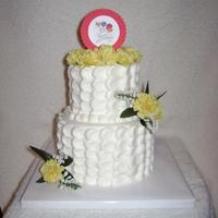 "Anniversary First time doing the petal effect. Love it 4 & 6"" Vanilla cake with Vanilla Buttercream"