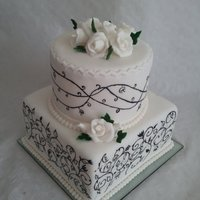 Black And White Wedding Cake   Hand painted wedding cake. TFL xx