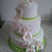 Wedding Cake With Orchids   All edible. Thank you for looking xx