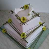 Wedding Cake With Sugar Flowers   As promissed ... the same design, this time with sugar flowers :-) TFL
