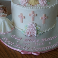 "First Communion Made on behalf of Icing Smiles Inc. for a special little girl celebrating her First Holy Communion. 6""&10"" tiers. Yellow with..."