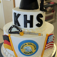 High School Graduation Cake This is a WASC with buttercream and MMF decorations.