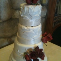 3 Tier Round Small Wedding Cake Fondant with fondant decor, satin ribbon and fresh flowers