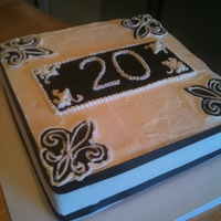 20Th Anniversary Single Tier Square Buttercream iced with fondant accents and edible pearls