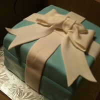 Tiffany's Gift Box Small Square cake covered inTiffany Blue fondant, fondat ribbon