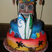 Hand Painted Luau Cake