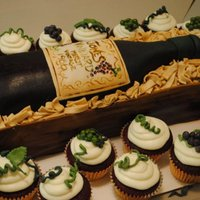 Wine Bottle   Wine bottle cake with matching red velvet cupcakes with a cream cheese frosting