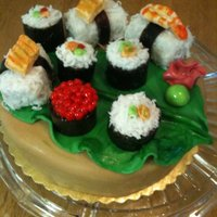 "Sushi  sushi toppers are made from RKT ""seaweed"" are natural fruit rollups, ""rice"" is coconut, and other topper parts are..."