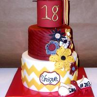 Graduation Cake For A Young Lady Named Unique Who Also Celebrated Her 18Th Birthday On The Same Day School Colors Used On The Cake graduation cake for a young lady named unique who also celebrated her 18th birthday on the same day. School colors used on the cake.