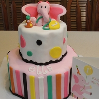 Pink Elephant 1St Birthday I loved doing this cake! I had my SIL give me the invitation to my nieces first birthday and I copied it! I used the petal pans, cherry...