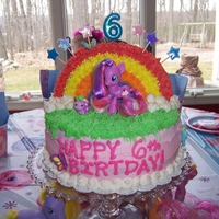 My Little Pony Rainbow is cake, buttercream, royal icing butterflies