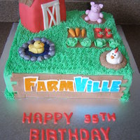 "Farmville This is a 10"" square iced in buttercream. The barn is RKT covered in fondant. Everything else is sculpted from 50/50 gumpaste &..."