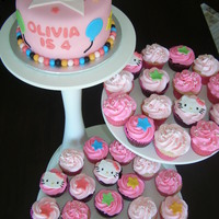 "Hello Kitty  6"" cake and cupcakes, based on Hello Kitty ""Balloon Dreams"" party decorations. Cake is MMF, cupcakes are buttercream with..."
