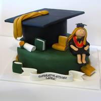 Grad Cake Chocolate pound cake with peanut butter chips and peanut butter buttercream covered in fondant. Books, diploma and grad figurine made of...