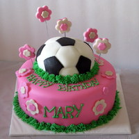 Soccer Birtrhday Soccer birthday cake. Chocolate fudge cake with vanilla buttercream and fondant. Soccer ball is cake.