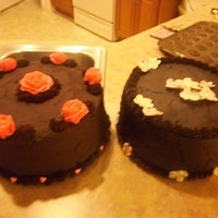 Fundraiser Dark Chocolate Cake  Another cake for the church sale. Dr chocolate with dr. chocolate buttercream. topped with buttercream roseson one and RI flowers on the...