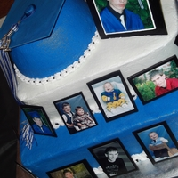 "Panther Graduation Gumpaste ""frames"" with pictures of the graduate from the time he was a baby to his cap and gown. Ball pan used for graduation cap..."