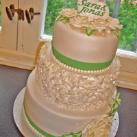 My Sisters White And Green Themed Wedding Cake Made this wedding cake for my sisters wedding. All fondant.